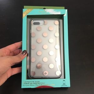 Kate spade rose gold dots clear iPhone 6 7 plus